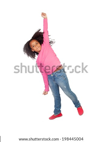 Funny girl jumping isolated on a white background - stock photo