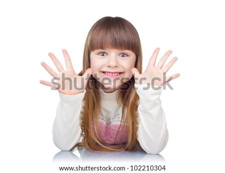 Funny girl showing ten fingers isolated on white background - stock photo