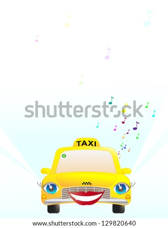 Funny girl taxi listen music on the road.