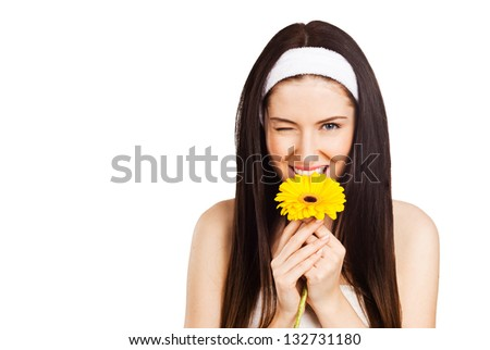 Funny girl with a flower, isolated on white - stock photo