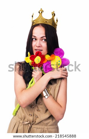 Funny girl with different stuff isolated on white