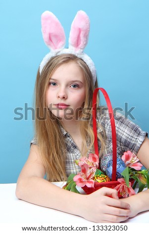 funny girl with rabbit ears