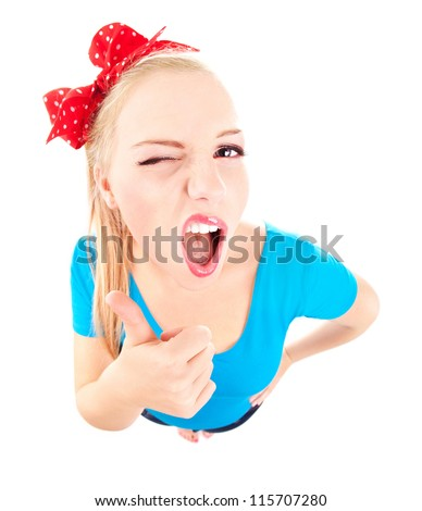 Funny girl with thumb up isolated on white, fish eye lens shot - stock photo