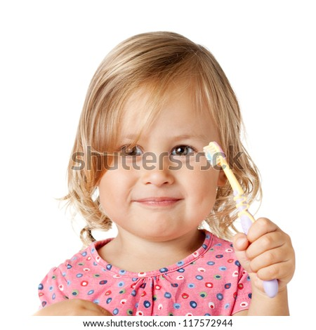Funny girl with toothbrush, isolated over white - stock photo