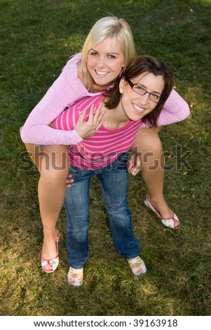 funny girls look up - stock photo