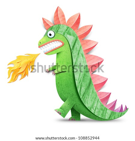 Funny godzilla spewing fire illustration. Paper cut illustration. Isolated on white background - stock photo