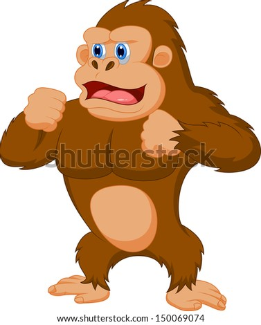 Funny gorilla cartoon - stock photo