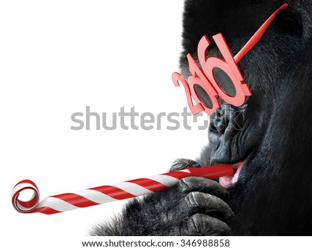 Funny gorilla with noisemaker and 2016 glasses for Year of the Monkey Chinese zodiac - stock photo