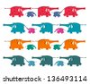 Funny Graphic Elephants Herd Collection. Raster variant. - stock vector