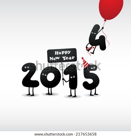 Funny greeting card - Happy New Year 2015 - stock photo