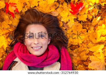 funny ground portrait of resting woman - stock photo