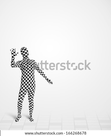 Funny guy in  body suit looking at empty copy space