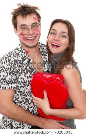 funny guy nerdy and glamorous girl in a Valentine's Day
