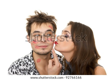 funny guy nerdy and glamorous girl in a Valentine's Day - stock photo