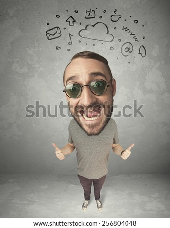 Funny guy with big head and drawn social media marks over it  - stock photo