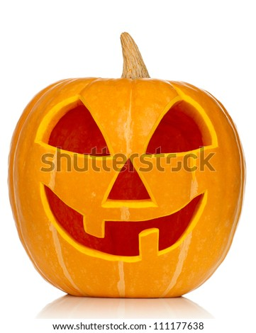 Funny Halloween pumpkin isolated on white background - stock photo
