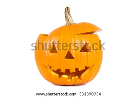 Funny halloween pumpkin isolated on white background with clipping path - stock photo