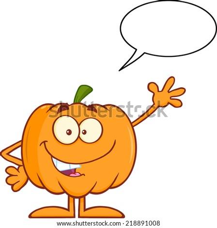 Funny Halloween Pumpkin Mascot Character Waving With Speech Bubble. Raster Illustration - stock photo