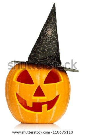 Funny Halloween pumpkin with black hat isolated on white background