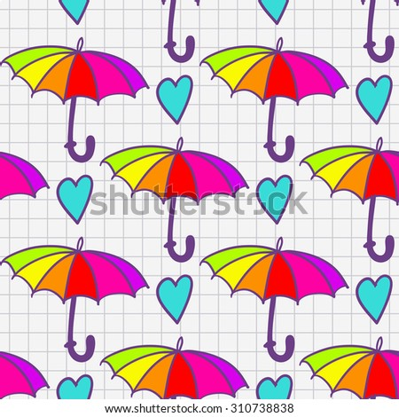 Funny hand drawn heart and umbrella sketch in a notebook seamless pattern. Raster copy.