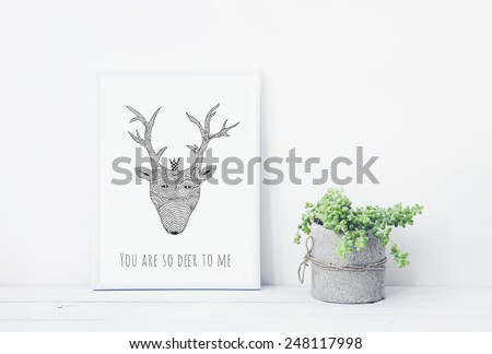 funny hand drawn poster YOU ARE DEER TO ME with succulent in diy concrete pot. Scandinavian style room interior - stock photo