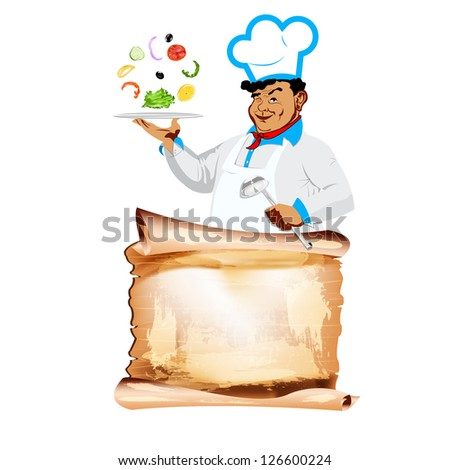 Funny happy Chef and vegetarian vegetable menu