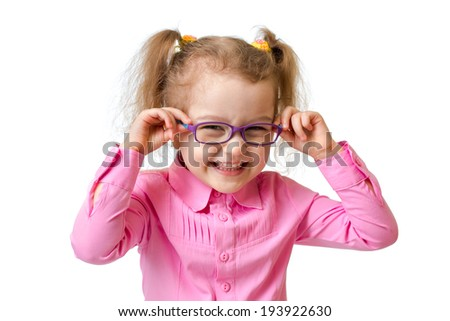 Funny happy girl in glasses isolated on white - stock photo