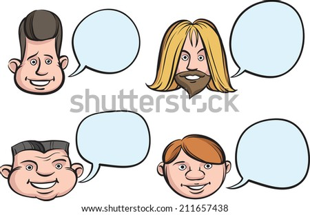 Funny Heads with Speech Bubbles - stock photo