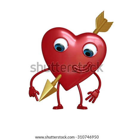 funny heart cartoon character pierced with gold arrow, 3d digital illustration isolated on white background
