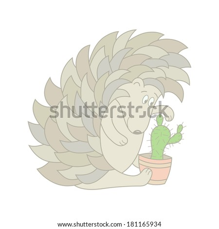 Funny hedgehog and cactus - stock photo