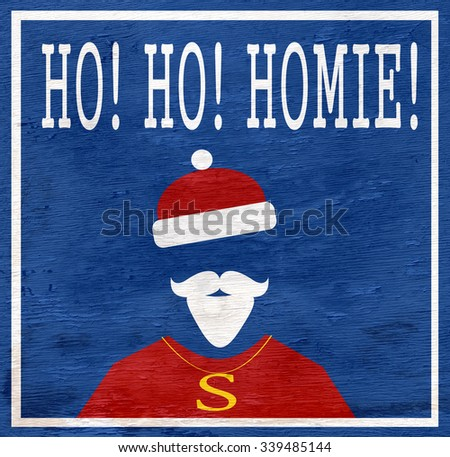 funny hip hop holiday design on wood grain texture - stock photo