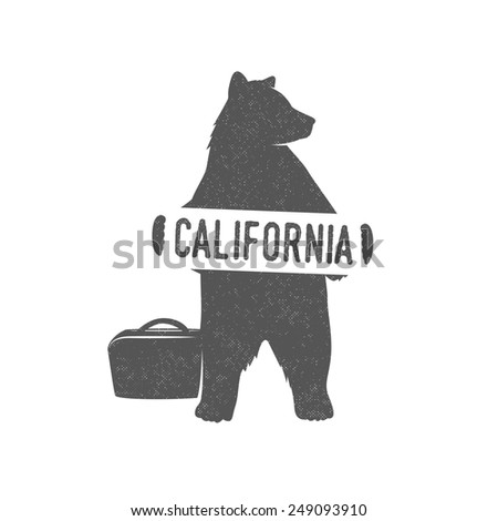 Funny hitchhiking bear with California sign - stock photo