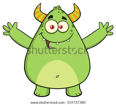 Funny Horned Green Monster Cartoon Character With Welcoming Open Arms. Raster Illustration Isolated On White - stock photo
