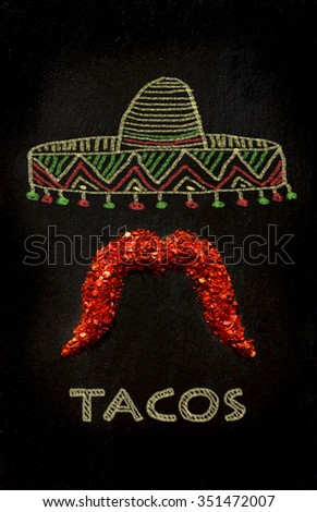 Funny hot pepper mustache. Taco banner.