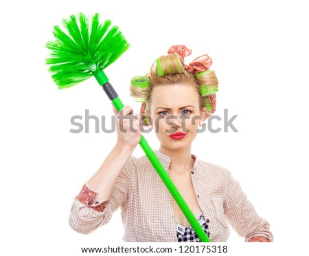 Funny housewife / girl with broom, isolated on white. Close up domestic woman - stock photo