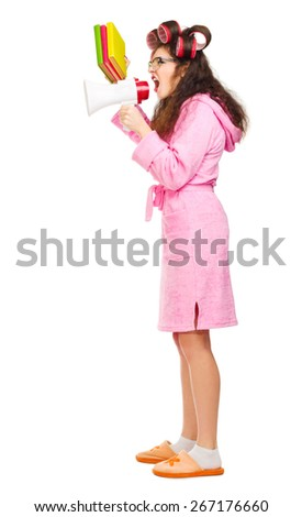 Funny housewife with curlers and books  isolated
