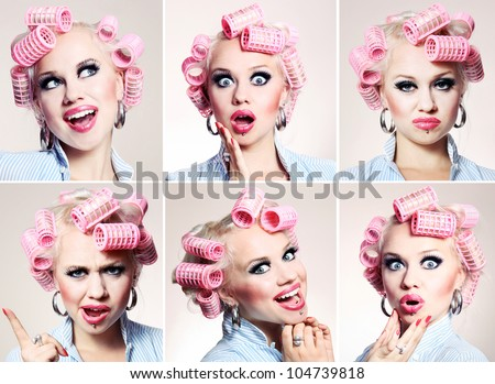 Funny housewife with many different facial expressions - stock photo