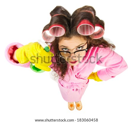 Funny housewife with nerd glasses isolated - stock photo