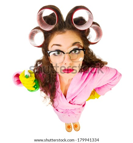 Funny housewife with sprayer isolated - stock photo