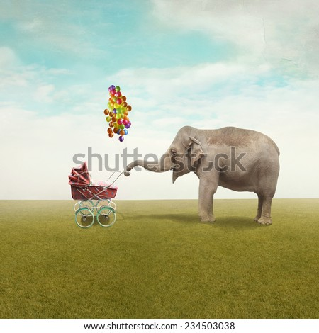 Funny illustration with a beautiful elephant leading walking her child in a wheelchair - stock photo