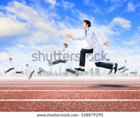 Funny image of young running doctor in white uniform