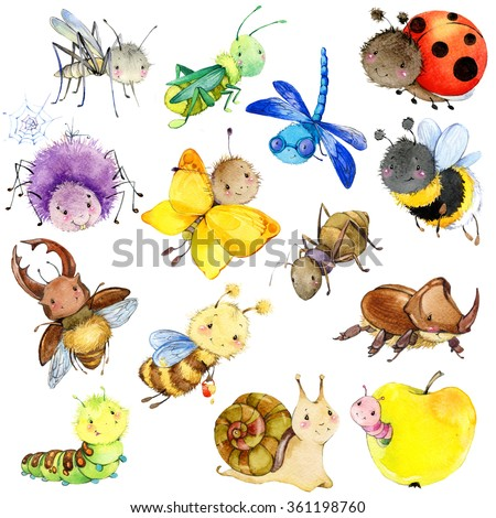 Funny insects collection. Watercolor Cartoon insect. Wasp, bee, bumblebee, butterfly, worm, caterpillar, beetle, ladybug, grasshopper, mosquito, dragonfly, spider, snail, ant. watercolor drawing  - stock photo