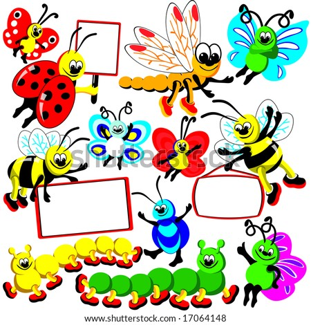 Funny insects set of banners. Dragonfly, butterflies, bees, Ladybird, caterpillars and bugs hold posters Elements for your design. JPG (See Vector  Also In My Portfolio)
