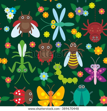Funny insects Spider butterfly caterpillar dragonfly mantis beetle wasp ladybugs seamless pattern on green background with flowers and leaves.  - stock photo