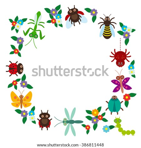 Funny insects Spider butterfly dragonfly mantis beetle wasp ladybugs on white background.  - stock photo
