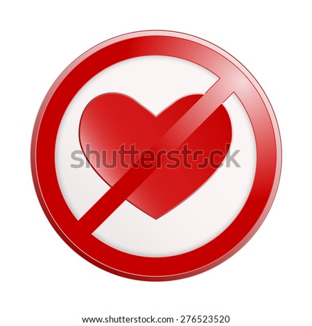 Funny interior sign No love for St.Valentine decorations. raster version illustration isolated on white. - stock photo