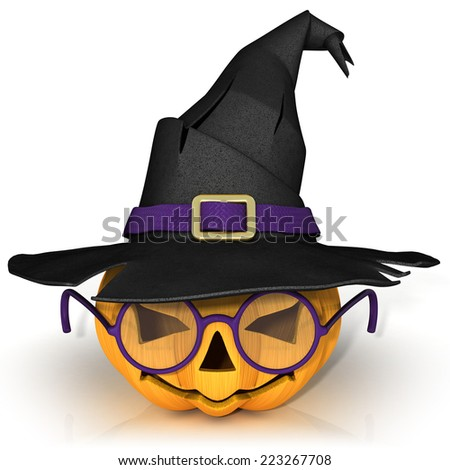 Funny Jack O Lantern. Halloween pumpkin with purple glasses, wearing a witch's hat. Isolated on white background. - stock photo