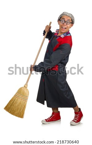 Funny janitor isolated on white - stock photo