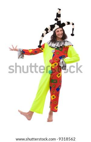 funny jester joker on white background - stock photo