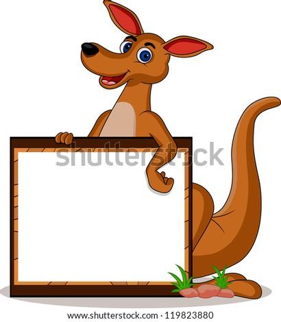 funny kangaroo with blank board - stock photo